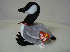 Ty Beanie Baby LOOSY Plush Black White and Gray Goose with Red Ribbon Original