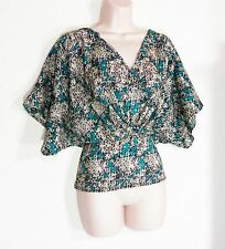 PRETTY! FAMOSA TEAL IVORY BLACK TINY GEO CINCH MIDRIFF CAREER POLY TOP! LARGE