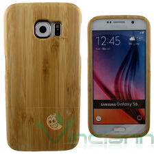 Custodia cover in VERO LEGNO per Samsung Galaxy S6 G920F rigida case wood nuova