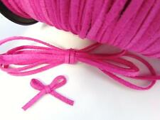 10 yards Genuine Leather Suede Flat Cord 3mm Trim/Bow/Lace/Fuchsia T163-Hot Pink