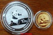 2014 panda Horticultural Expo Qingdao gold + silver coin with coa and box