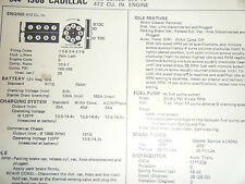 1968 CADILLAC ALL SERIES 472 CU IN 375 HP SUN TUNE UP SPEC SHEET