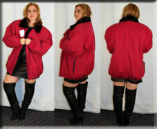 New Red Tapeta Rain Jacket Black Rabbit Fur Lining Size 2XL 16 18 Efurs4less