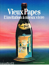 PUBLICITE ADVERTISING 065  1986  VIEUX PAPES  vin