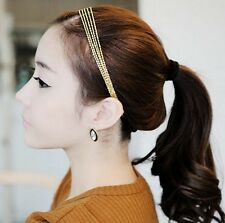 Downton Gold Layers Chain Forehead Hair Clip Crown Head Dress Band Party Gift BB