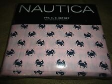 NAUTICA CRAB PINK (3PC) TWIN XL SHEET SET BLUE 100% COTTON BLEND TROPICAL