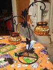 Halloween Glass Pumpkin Votive Candle Holder Tree Stand Tabletop Centerpiece New