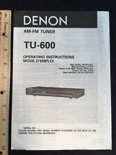 Denon Tu-600 Tuner Original Owners Manual tu600 A16