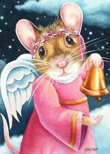 ACEO Limited Edition Print Christmas Pink Angel Mouse Ringing Bell by J. Weiner