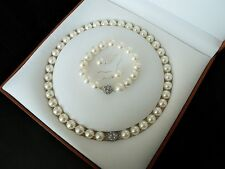 wholesale natural 10mm white shell pearl fashion bracelet earring necklace set