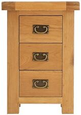 PAIR of Kingsford SOLID OAK BEDSIDE TABLES Cabinets 3 Drawer - Bedroom Furniture