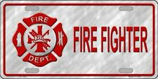Fire Fighter Metal Novelty License Plate Tag
