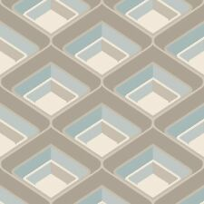 3D Geometric Retro Vintage Bold Metallic Glitter Teal Grey Silver Wallpaper