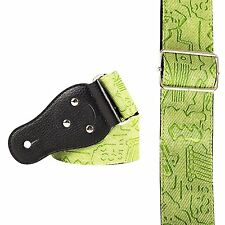 GREEN damask Guitar Strap random inlay symbols 3037 plectrum holder reggae lime