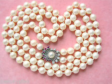 VINTAGE DOUBLE STRAND SALTWATER PEARL NECKLACE DIAMOND RUBY CLASP 1950 GERMANY