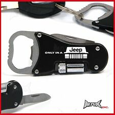 ONLY IN A JEEP Lasered Logo Keyring / Pocket Knife / LED Torch / Bottle Opener