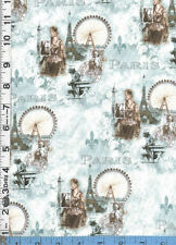 Fabric Spectrix PARIS SCENES Eiffel Tower ART NOUVEAU FRENCH BLUE BROWN BTHY