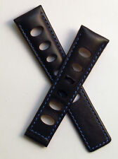 Black/Blue Rally-style leather watch strap/band to fit TAG Heuer Monaco watches