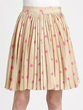 Nwt $368 Kate Spade New York MELODY Polka Dot Silk Pleated Skirt ~Beige/Pink *6