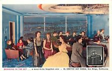 c1950 Postcard; Drinking in the Sky El Cortez Sky Room San Diego Cocktail Lounge