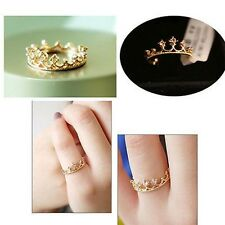 Fashion Women Gold Plated Crystal Rhinestone Crown Ring Finger Jewelry One