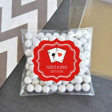 24 Las Vegas Personalized Clear Candy Bags Bridal Shower Wedding Favors