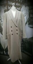 """Ladies Vintage long coat wool beige Size 20 C46"""" Plus size mod"""