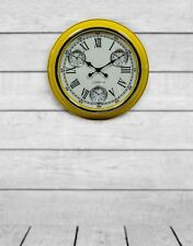 Retro Yellow Frame White Face Multi Zone Wall Clock