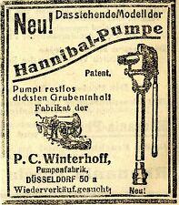 P.C. Winterhoff Düsseldorf HANNIBAL-PUMPE Historische Reklame von 1917/18