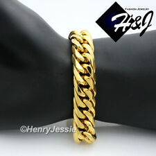 "9.5""MEN's Stainless Steel HEAVY WIDE 16x5mm Gold Cuban Curb Link Chain Bracelet"