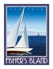 Fisher's Island, NY- Vintage Art Deco Style Travel Poster -by Aurelio Grisanty