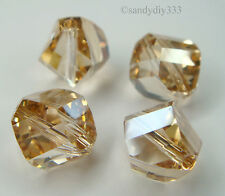 4x SWAROVSKI 5020 GOLDEN SHADOW 10mm HELIX CRYSTAL BEAD