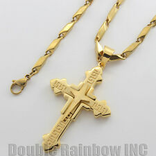 "24"" men stainless steel gold sharp cross pendant bullet necklace chain link 18"