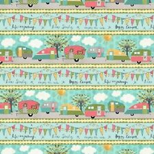 ON THE ROAD AGAIN SUNSHINE VINTAGE STYLE CARAVANS HAPPY CAMPER STRIPE FABRIC