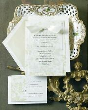 12 ELEGANT WEDDING INVITATIONS KIT Green Floral Set Formal Reply Cards NEW