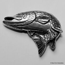 Turning Pike Fish Pewter Pin Brooch -British Handcrafted- Coarse Fishing Angling