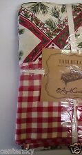 "New April Cornell Tablecloth 60x104"" Christmas Holly Bird Checkered Boarder"