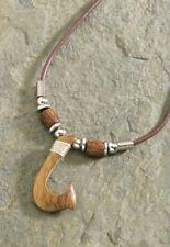 Hawaiian Hawaii Jewelry Wooden Hook Brown Cord Necklace / Choker # 9875138000