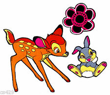 """3.5"""" DISNEY BAMBI THUMPER BUTTERFLY FLOWERS HEARTS FABRIC APPLIQUE IRON ON"""