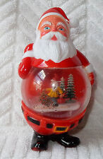 Vintage Plastic Santa Claus Belly Christmas Snow Globe Elf Trees Hong Kong