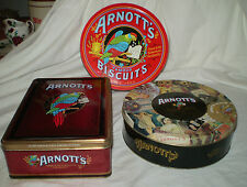 3 COLLECTABLE ARNOTT'S BISCUIT TINS ~ HERITAGE, MEMORIES & BISCUIT ASSORTMENT