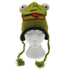 Fun Frog Handmade Winter Woollen Animal Hat Fleece Lining One Size, UNISEX