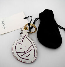 Paul Smith Womens' KeyFob SMILING CARTOON CAT LARGE Leather Made in Italy