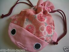 NEW! Chirimen Japanese crape cloth Pouch GOLDFISH PINK kincyaku Kawaii! japan