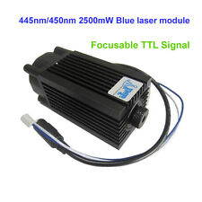 Focusable 445nm/450nm 2500mW/2.5W blue laser module TTL 12V DIY CNC engraving