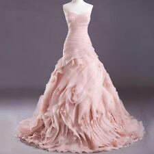 Organza Mermaid Pink Wedding Dresses Bride Dress Bridal Gown Custom Size 4-26++