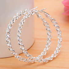 "Cute New 925 Sterling Silver Plated Chain Link Round 1.5"" Hoop Dangle Earrings"