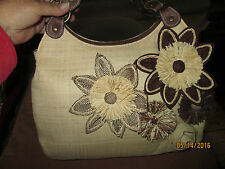 NWT Adrienne Vittadini Large Straw Purse with Flowers