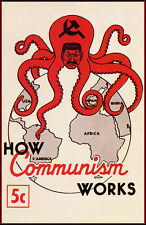 How Communism Works Poster, Josef Stalin, Octopus, Soviet Union, Russia, USSR