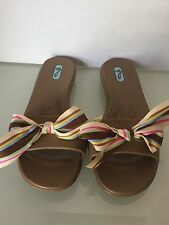 Okabashi Madison Sandals Flip Flop Comfort Brown Pink Multi Color Bow Ribbon M